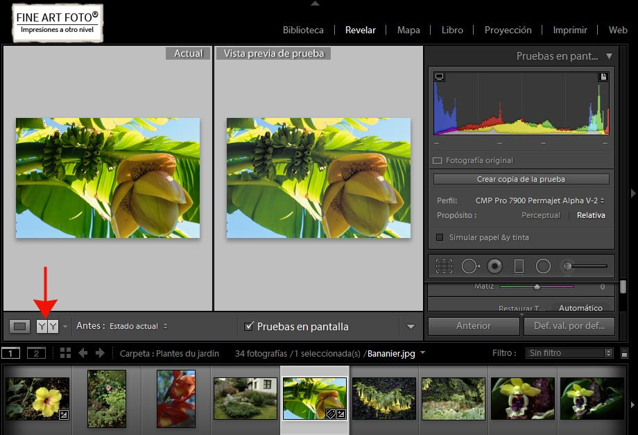 Aviso de Gama de destino antes y despues:FINE ART FOTO
