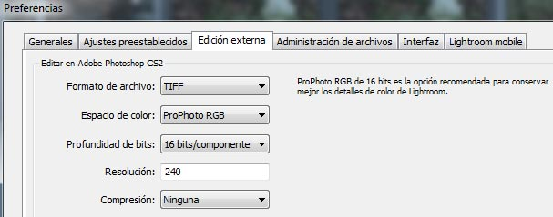 Preferencias de color en Lightroom al enviar una foto a photoshop: FINE ART FOTO